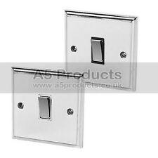 Single Light Switch 1 Gang Polished Mirror Chrome Victorian 10 Amp 1 Gang 2 Way