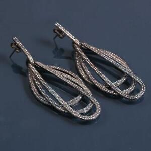 925 Sterling Silver Long Dangle Earring Topaz Gemstone,Victorian Earring ST