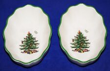 """LOVELY PAIR OF SPODE CHRISTMAS TREE 6"""" FLUTED OVAL CANDY/NUT DISHES"""