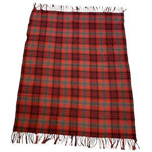 "Vintage Pendleton Wool Fringe Throw Rug Afghan Blanket Plaid 53"" x 65"" Made USA"