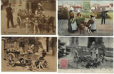 BELGIUM 1900 MILK LADIES W/DOG CARTS FOUR POST CARDS TWO W/POLICE GIVING TICKETS