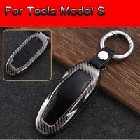 Carbon Fiber Shell+Silicone Cover Remote Key Holder Fob Case For Tesla Model S
