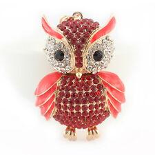 Red Owl Keychain Rhinestone Crystal Charm Cute Feather Bird Animal Gift 01311