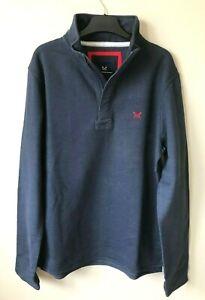 New Mens Crew Clothing Sweatshirt Pique cotton Blue XS - XXXL Half Zip
