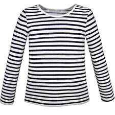 Sunny Fashion Us Stock! Girls T-shirt Striped School Uniform Size 4-12