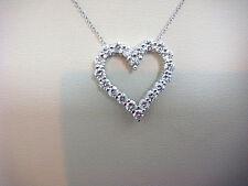 Gorgeous 14K White Gold Round Diamond 1.25ct Heart Pendant, TIFFANY & SONIA'S