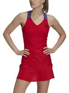 New adidas Women AEROREADY Y-Back Tennis Dress Scarlet Size Large L GQ8929