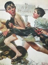"Original Norman Rockwell ""NO SWIMMING"" Lithograph 1921 Printed in JAPAN **RARE**"