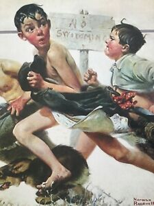 """Original Norman Rockwell """"NO SWIMMING"""" Lithograph 1921 Printed in JAPAN **RARE**"""