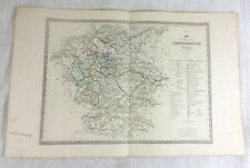 1846 Antique Map of Germany German Confederation Rare Hand Coloured Engraving