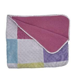 Circo Target Pink Square Block Blanket Minky Dot Purple Aqua Pink Yellow