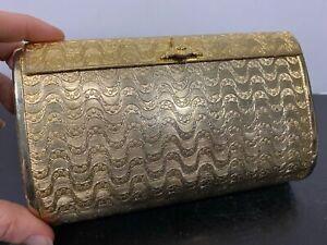 Vintage WALBORG Italy Gold Tone Metal Evening Handbag Purse