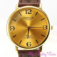 Omax Waterproof Gold Classic Unisex Seiko Y121 Movt Brown Leather Watch SC7491