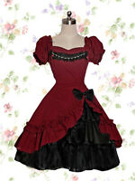 Classical Lace Victorian Lolita Maid Red Dress Cosplay Costume Custom Made