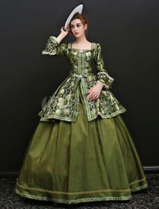 Vintage Victorian Costume Green evening ball gowns maxi Long Party prom Dresses