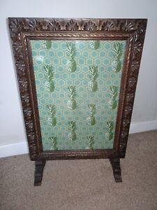 Antique Carved Oak Edwardian Fire Screen -Refurbished Pineapple Geometric Fabric