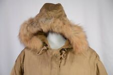 DKNY Women's Parka Size Large Hooded Fur Trim Down Filled Warm Full Zip Gold