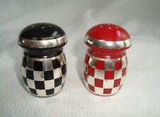 Art Deco Black & Red Mushroom Bakelite & Silver Salt & Pepper Shakers