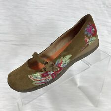 Cafe Noir Women's Mary Jane Shoes Brown Suede Floral Size 38 US 7.5