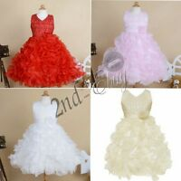 Girls Flower Dress Bridesmaid Princess Wedding Christening Communion Ball Gown