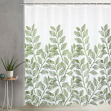Green Leaves Waterproof Shower Curtain for Bathroom Curtain Decor Included Hooks