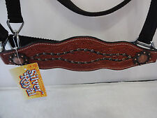 Bronc Halter Horse Leather Nylon Black Silver Royal Crystals Bling Copper Concho