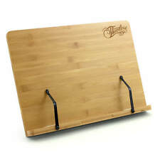 More details for theodore wooden bamboo adjustable tabletop book rest sheet music stand 390mm x 2