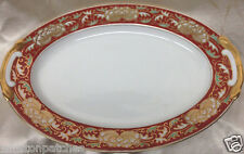 "CRAFTSMAN JAPAN IMARI 12"" OVAL SERVING PLATTER GOLD FLORAL ON RED BAND GOLD TRIM"