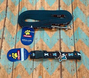 Top Paw Small Collar and  6ft. Leash Set - Blue Bone Print