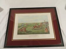 Antique 1832 Henry H. Alken Hand Colored Engraving Etching ~ A Steeple Chase
