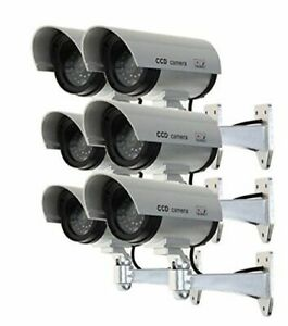 6 Telecamere Finte con LED Lampeggiante Camera da Esterno + 12 PILE OMAGGIO
