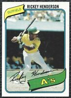 1980 Topps Rickey Henderson Vintage Rookie Baseball Card RC 482 Oakland A's EXMT