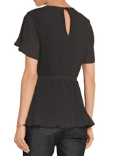 MICHAEL MICHAEL KORS Black Pleated Georgette Top UK 10, US6, F40, IT44 BNWT