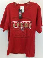 Majestic San Fran 49ers Red Tee-Shirt Sz Lrg Unisex NFL Team Apparel 100% Cotton