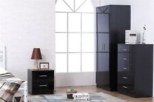 High Gloss Trio Bedroom Furniture Set - Wardrobe Chest Bedside Black Black Oak