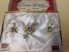Vintage Maxine Dupree Blue Teal Rhinestone Floral Spray Pin With Pair Earrings