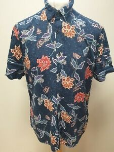 MENS LIMITED NAVY BLUE FLORAL THEME RELAXED FIT HAWAIIAN SHIRT UK L EU 54