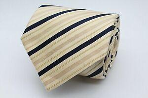 Hugo Boss Herren Krawatte 146cm 100% Seide Gelb Schwarz Gestreift #425