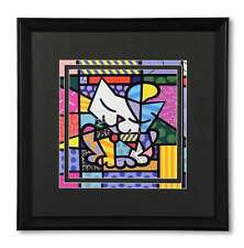 ROMERO BRITTO LARGE SUGAR  CAT  FRAMED PRINT DISCONTINUED W/ BLACK FRAME BLACK