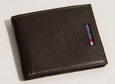 New Tommy Hilfiger Men's Bifold Leather Passcase Wallet  - Brown