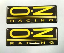 OZ racing stickers/decals 2 x 63mm Yellow on Black - HIGH GLOSS DOMED GEL FINISH