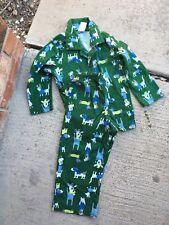 Gymboree Green Flannel Doggie Print Pajama Set Size 2T