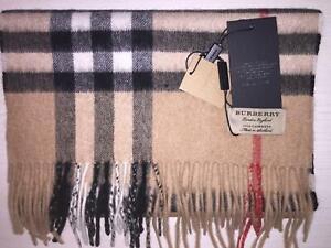 Sciarpa Burberry in Cashmere Colore Camel Check Motivo Tartan Classic