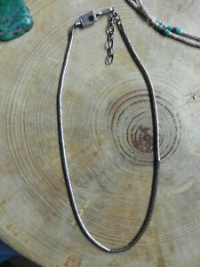 """Sterling Silver Round Beads Necklace 16-18"""" Garnet Clasp by Christin Wolf Navajo"""