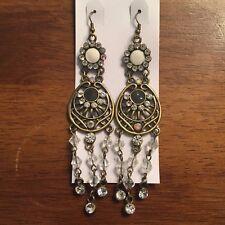 Chandelier Dream Catcher Hook Earrings Nwt New Vintage Bronze Crystal