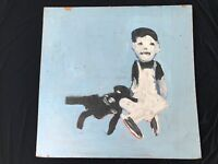 Boy and Dog Abstract Outsider Folk Art Oil / Acrylic Painting on board