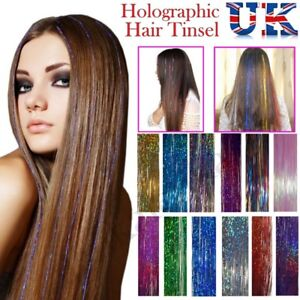 Woman Long Hair Tinsel Sparkle Holographic Glitter Extensions Highlight Party