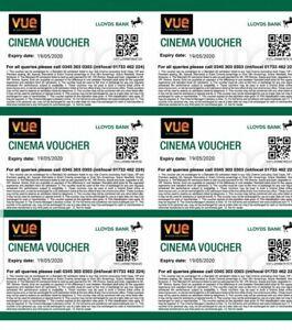 6 x VUE CINEMA TICKETS