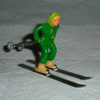 """VINTAGE LEAD BARCLAY """"GIRL ON SKIS IN GREEN"""" B191 Near Mint Free Shipping Lot K"""