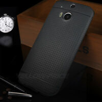 Ultra Slim Dot Matte Back Case Cover Screen Protectors for HTC One 2 M8 Black